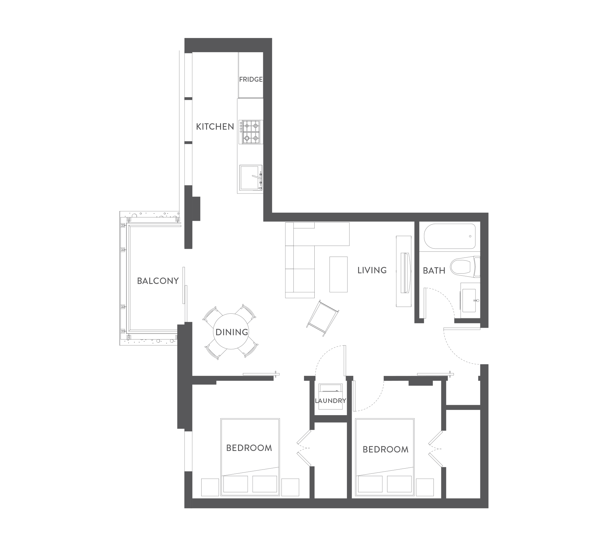 Junior 2 bedroom o the wade harris green victoria bc for Floor plans victoria bc